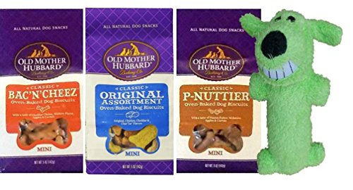 Old Mother Hubbard All Natural Oven-Baked Classic Mini Dog Biscuits 3 Flavor Variety with Toy Bundle: (1) Bac'N'Cheez, (1) P-Nuttier, and (1) Original Assortment, 5 Oz. Ea. (3 Bags wToy) (Old Mother Hubbard Bac N Cheese compare prices)
