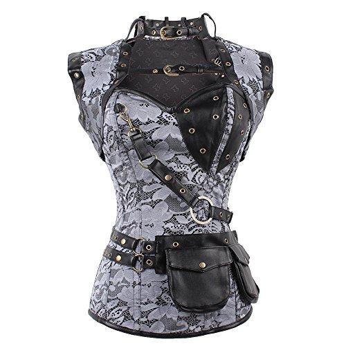 FeelinGirl Women's Cool Warrior Design Steel Boned Brocade Vintage Steampunk Bustiers Corsets Costumes Size S Sliver steampunk buy now online