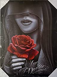 DGA Day of the Dead Eternal Love Red Rose Stretched Wood Frame Canvas Wall Art 12x16 Inches - True Devotion