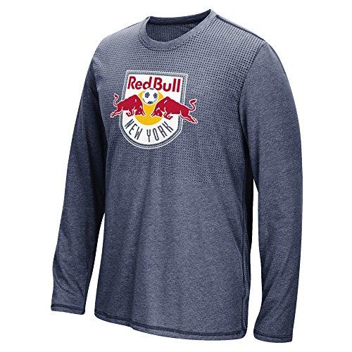 MLS New York Red Bulls Men's Climacool Aeroknit Long Sleeve Tee, Heathered Navy, Large