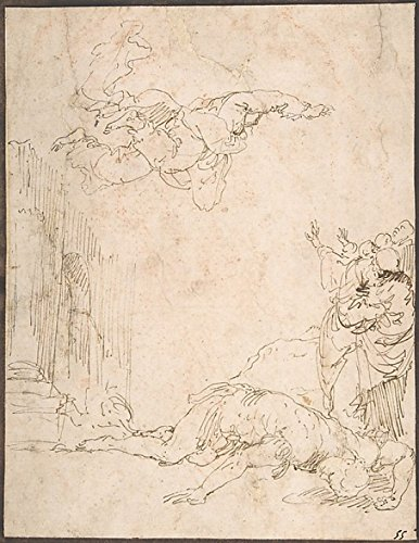 Jusepe de Ribera - Unidentified Scene: Figures Watching a Fallen Giant and Another Figure Levitating Kunstdruck (45,72 x 60,96 cm)