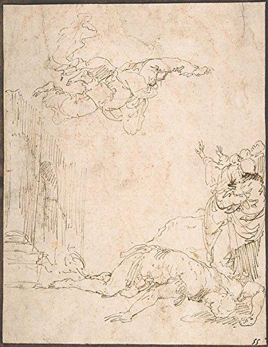 Jusepe de Ribera - Unidentified Scene: Figures Watching a Fallen Giant and Another Figure Levitating Kunstdruck (45,72 x 60,96 cm)