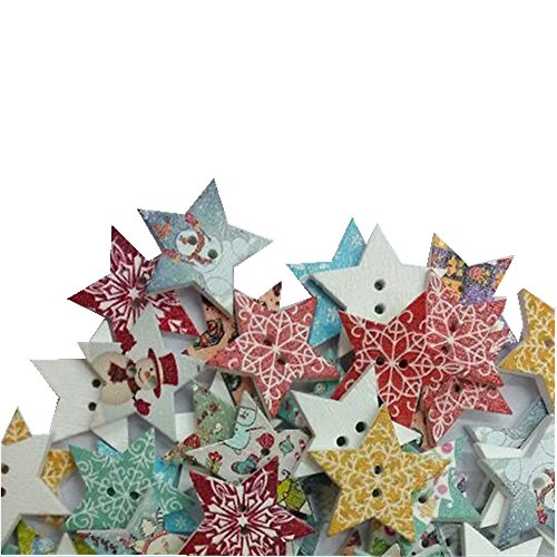 Biodawn Mixed Random Christmas Star 2 Holes Wooden Buttons for Sewing Crafting Pack of 50pcs 25mm (Buttons For Sewing And Crafting compare prices)