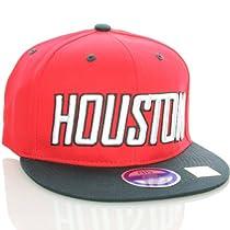 Houston Flat Bill Vintage Style Snapback Hat Cap Black Red - Astros Colors