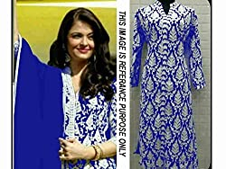 Khazanakart New Attractive Blue Colour Georgette Fabric Bollywood Style Designer Salwar Suit Dress Material For Women
