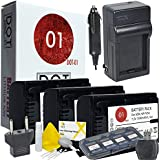 3x DOT-01 Brand 1300 MAh Replacement Sony NP-FV50 Batteries And Charger For Sony HDR-XR260 Camcorder And Sony FV50 Accessory Bundle With BONUS Lens Blower Brush Cleaning Kit And Hard Memory Card Case