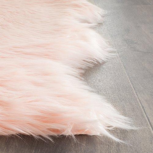Safavieh Faux Sheep Skin Collection FSS115G Handmade Pink Area Rug, 2 feet by 3 feet (2' x 3')
