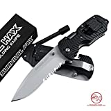 Survival Folding Knife - Multitool - includes Flathead and Phillips Screwdriver - Serrated Edge for Hunting and Tactical Use (Black)