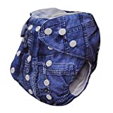Alva Baby One Size Washable Reusable Cloth Diaper Fit For 6 33Lbs Baby Jeans Two s J01