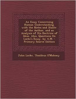 essay concerning human understanding summary analysis