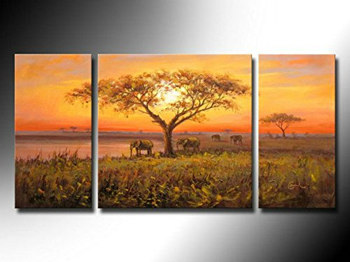 Sunset landscape, African grasslands elephant theme, high quality canvas knife painting, 100% handmade oil painting