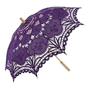 Remedios Battenburg Lace Parasol Umbrella for Bridal Wedding Decoration,Dark Purple