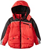 Big Chill Boys and Toddlers Oxford Trim Colorblock Hooded Puffer Jacket - Red (Size 10/12)