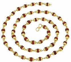 The jewelbox 22K Gold Plated Rudraksh Mala Chain 24