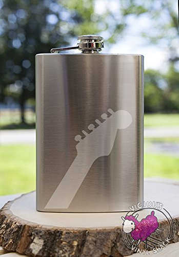 Guitar Neck 8Oz Etched Metal Flask Booze Alcohol College Brewing Vodka Whiskey Whisky Rum Tequila Funny Text Acoustic Electric Band Music Musician