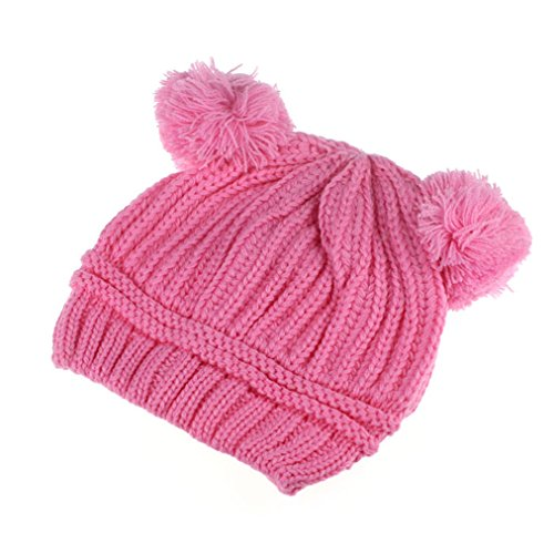 Nation Cute Baby Kids Girl Boy Dual Balls Warm Winter Crochet Knitted Cap Hat Beanie Caps (Pink)