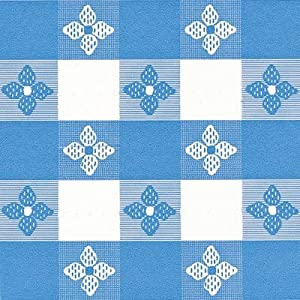 "Classic Series Vinyl Tablecloth Check, Blue/White 52"" x 52"""