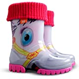 Boys Girls Kids Warm Fleece-Lined Wellington Boots Wellies Pony
