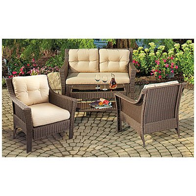 Cambridge indoor outdoor patio furniture set resin wicker 4 pc with cushioned loveseat and 2 arm Plastic wicker patio furniture
