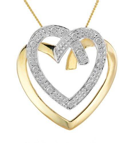 0.063 Carat Diamond Pendant Necklace in 9ct Yellow Gold