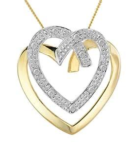 Collier Femme avec pendentif - Coeur - Or jaune (9 carats) 1.6 Gr - Diamant