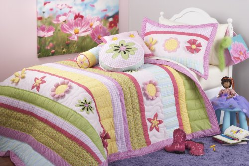 Flower Power Girls Round Pillow