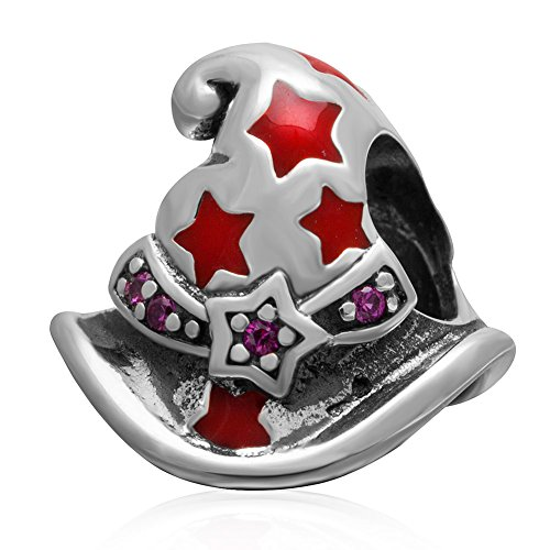 Magic Witch Hat Charm with Red Enamel Star Authentic Sterling Silver Birthstone Bead Fits Pandora Charms Bracelet for Christmas Day