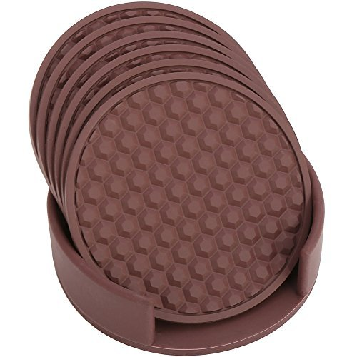 HappyDavid Silicone Cup Mat Drink Coasters Set of 6 with Coaster Holder for Fine Wine, Beer, or Any Beverage.Use on Bars or Fine Furniture in Your Kitchen(brown-holder)
