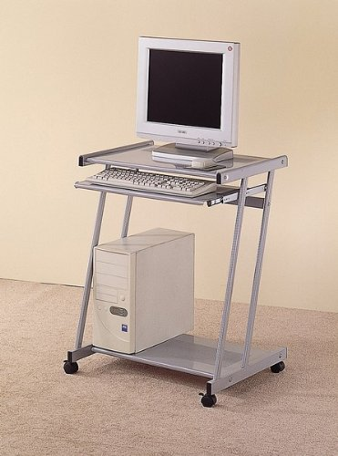 Buy Low Price Comfortable Contemporary Silver Finish Computer Workstation Office Desk/Table (B001EJ3RA6)