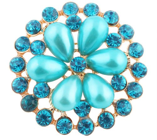Ladies Gold with Metallic Light Blue Iced Out Sun Wheel Pearl Flower Style Collar Brooch & Pin