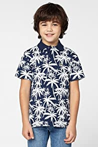 Boy's Short Sleeve Palm Tree Print Pique Polo