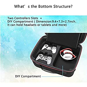 RLSOCO Hard Shell Carrying Case for Playstation 4 / Playstation 4 Pro Console and Accessories - Fits for PS4 Controllers, Headsets, Mobile Hard Drive, Cables (Color: Ps4 &P4P case)