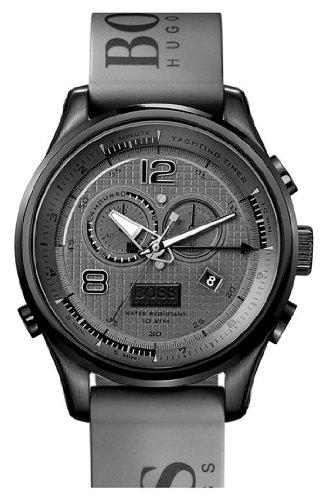 Hugo Boss 1512800 Grey Rubber Logo Strap Men's Watch