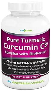 Turmeric Curcumin C3 Complex with BioPerine - 750mg per Capsule, 180 Veg. Caps - Contains Black Pepper (For Superior Absorption and Bio-availability). 95% Standardized Curcuminoids For Maximum Potency