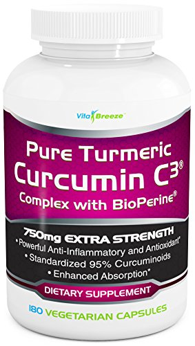 Turmeric Curcumin C3 Complex with BioPerine - 750mg per Capsule, 180 Veg. Caps - Contains Glowering Pepper (For Superior Absorption and Bio-availability). 95% Standardized Curcuminoids For Maximum Potency