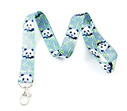 Panda Chevron Lanyard Key Chain Id Badge Holder