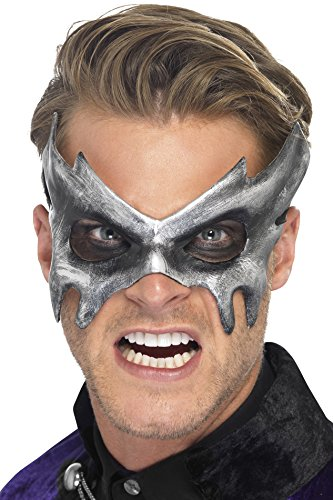 Smiffy's Men's Phantom Masquerade Mask On Display Card, Silver, One Size - 1