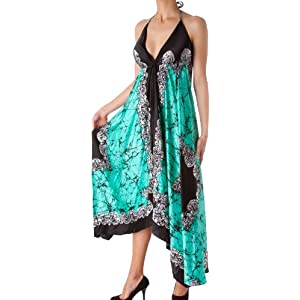 Sakkas Veins Print Satin V-Neck Halter Handkerchief Hem Dress