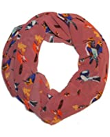 Penny Bird & Butterfly Print Silk Style Scarf in Dusty Pink