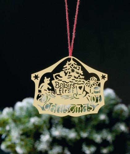 Biedermann & Sons D2009B Brass Commemorative Baby's First Christmas Ornament