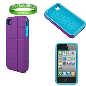 Apple iPhone 4S Designer Case Dual Layered Cover with Shock Absorbent Technology ( Purple Turtle Shell & Sky Blue Fashion Squares )