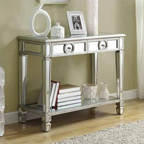 Monarch Specialties Length Sofa Console Table with 2-Drawer, 38-Inch, Mirrored (Mirrored Furniture Console compare prices)