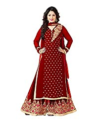 VIHA Red Embroidered Pure Georgette Plazzo Suit
