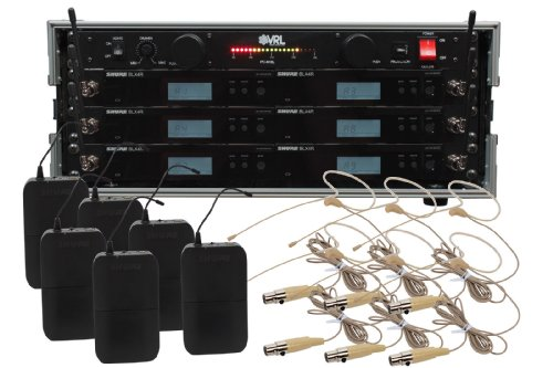 Shure Blx14R/Hs-06 6 Pack Wireless Earset Mic System With Vrl Power Supply