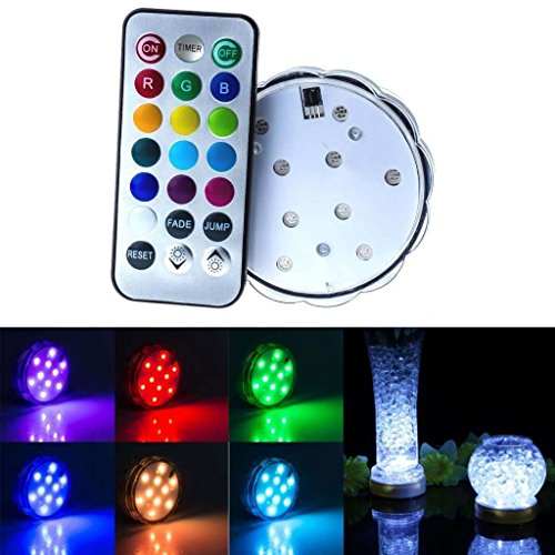 Soondar® 10-LED RGB Submersible LED Light, Multi Color Waterproof Wedding Party Vase Base Floral Light + Romote Controller