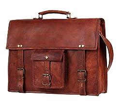 Handmadecraft 17 Inch Vintage Look Leather Laptop Messenger Briefcase Satchel Bag