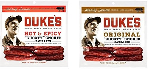 Dukes Smoked Sausage Sticks Bundle: Original and Hot & Spicy (Sausage Packaging compare prices)