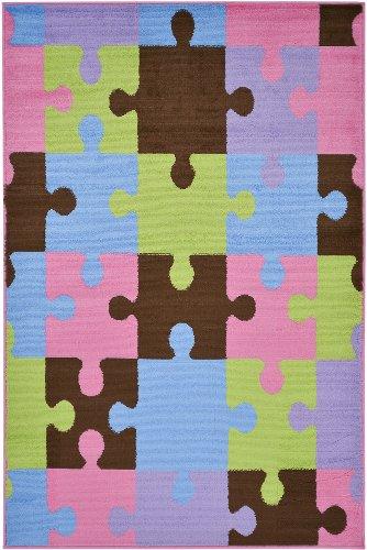"Multi-Color Contemporary Patchwork Design Kids Rug (5'0""X7'0"")"