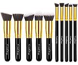EmaxDesign Makeup Brush Set Professional Premium Synthetic Kabuki Foundation Blending Blush Eyebrow Face Liquid Powder Cream Cosmetics Brushes Kit With Bag (10 Piece Golden Black)