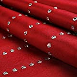 DOZZZ Handmade Woven Faux Silk Fabric Rainfall Crystal Shower Curtain, 72 X 72 Inches, Chili Pepper